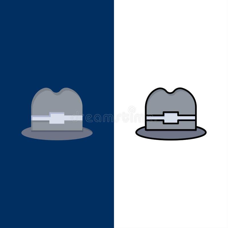 Καπέλο, τουρισμός, εικονίδια ατόμων Επίπεδος και γραμμή γέμισε το καθορισμένο διανυσματικό μπλε υπόβαθρο εικονιδίων απεικόνιση αποθεμάτων