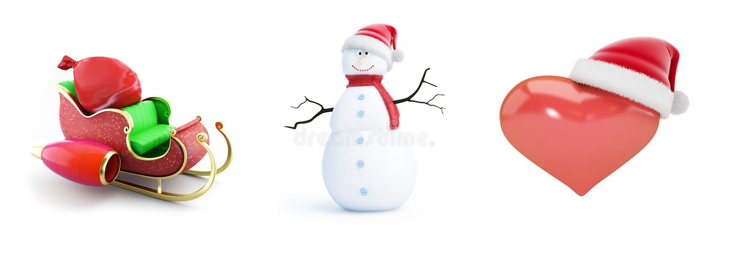 Καπέλο santa ατόμων χιονιού, έλκηθρο santa, καπέλο santa καρδιών σε μια άσπρη τρισδιάστατη απεικόνιση υποβάθρου, τρισδιάστατη από απεικόνιση αποθεμάτων