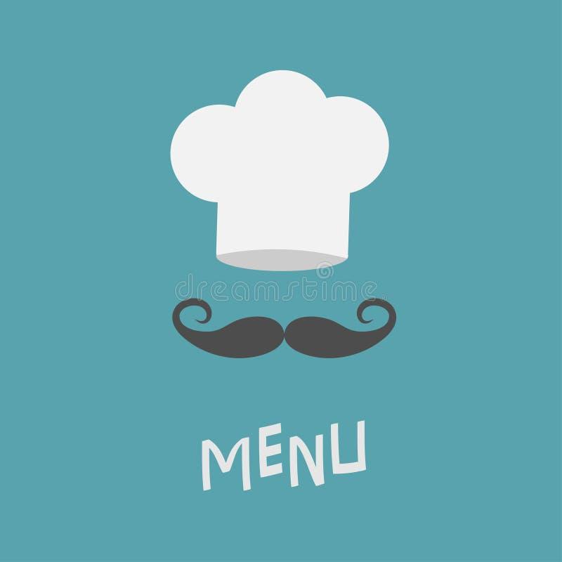 Καπέλο αρχιμαγείρων και μεγάλο mustache Κάρτα επιλογών Εστιατόριο ομοιόμορφο Μπούκλα moustaches διανυσματική απεικόνιση