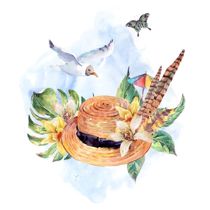 Καπέλο αχύρου θερινού watercolor, γλάρος, τροπικά φύλλα, λουλούδια διανυσματική απεικόνιση