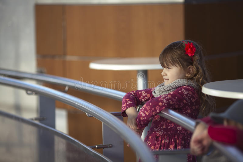 Καπέλο και τζιν fedora κοριτσιών, που φαίνονται αίθουσα παγοδρομίας πάγου στοκ εικόνα με δικαίωμα ελεύθερης χρήσης