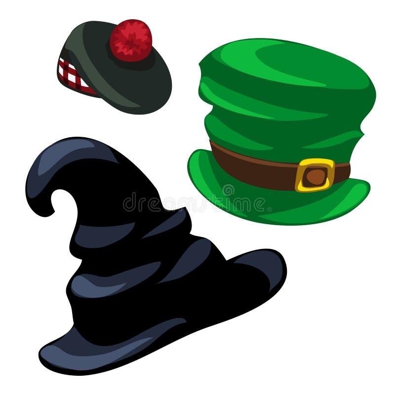Καπέλο μάγων, leprechaun και σκωτσέζικη ΚΑΠ διάνυσμα απεικόνιση αποθεμάτων