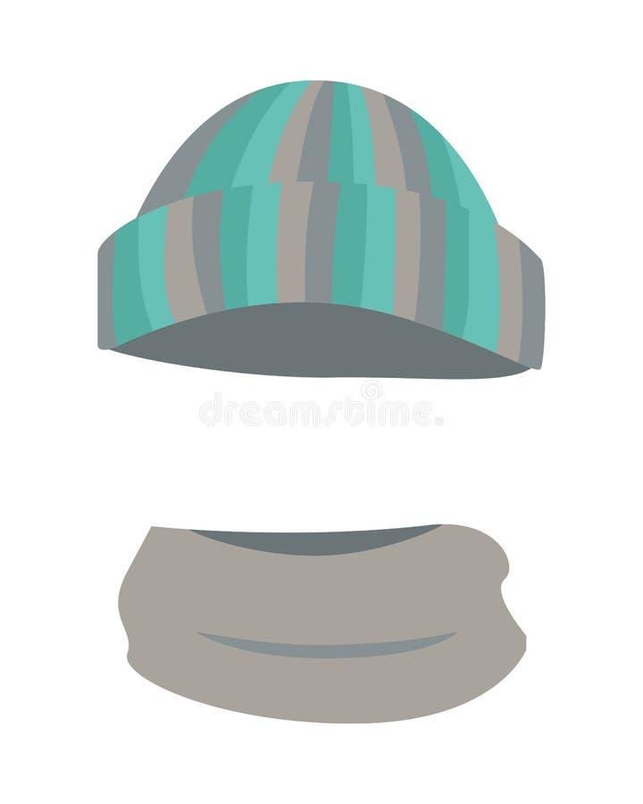 Καπέλο Μάλλινο θερμό ριγωτό Headwear και γκρίζο μαντίλι διανυσματική απεικόνιση