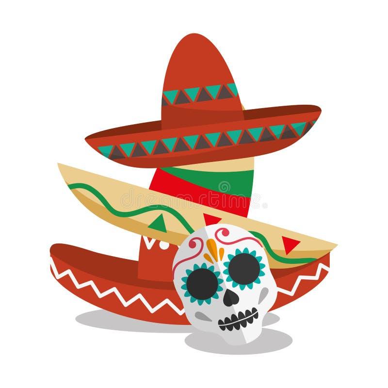 Καπέλο του μεξικάνικου σχεδίου πολιτισμού διανυσματική απεικόνιση