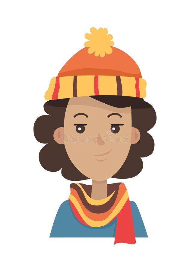 Καπέλο Brunette πλεκτά σε πορτοκάλι Headwear και το μαντίλι ελεύθερη απεικόνιση δικαιώματος
