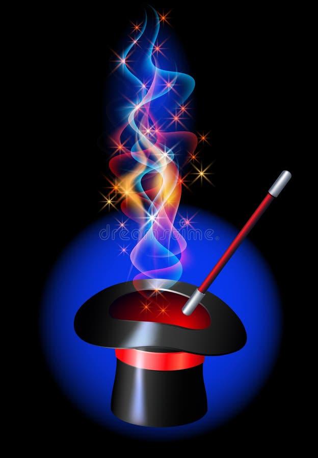 Καπέλο Conjurer με την καμμένος κόκκινη πυρκαγιά διανυσματική απεικόνιση