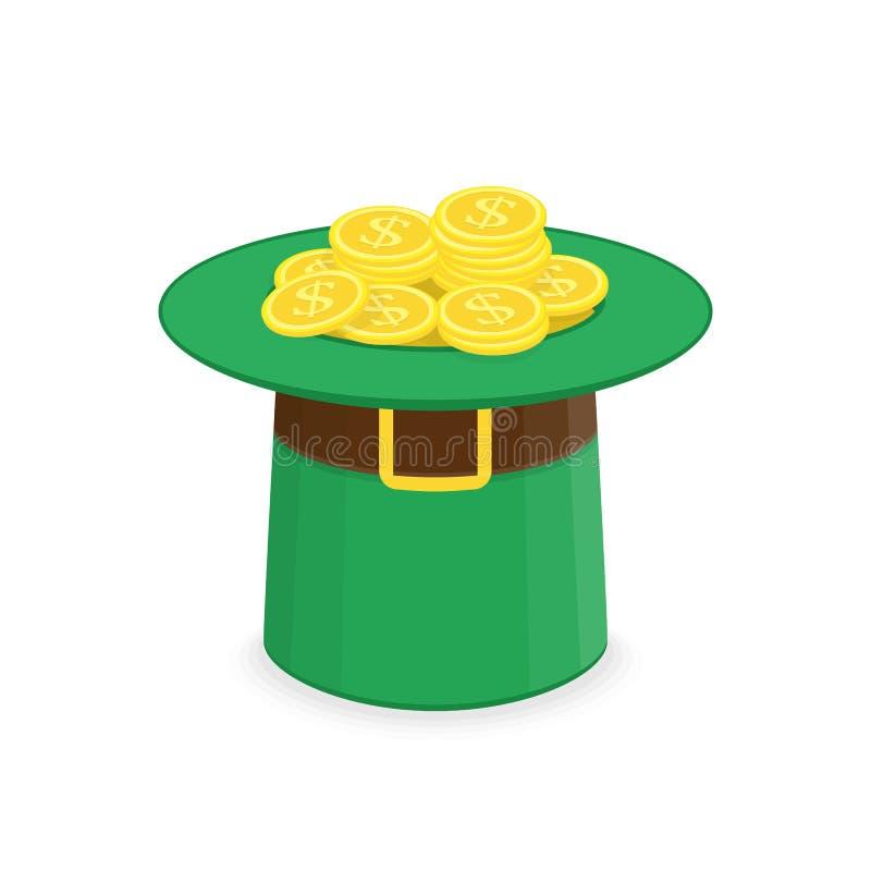 Καπέλο Leprechaun με το χρυσό απεικόνιση αποθεμάτων