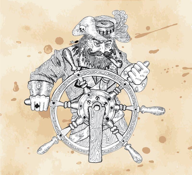 Καπετάνιος πειρατών πίσω από τη ρόδα στο υπόβαθρο εγγράφου απεικόνιση αποθεμάτων