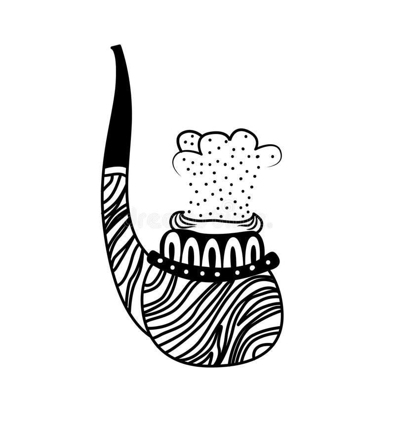 Καπνίζοντας διανυσματική απεικόνιση σωλήνων Συρμένο χέρι doodle απομονωμένο ύφος εικονίδιο απεικόνισης τέχνης σωλήνων καπνών μονο απεικόνιση αποθεμάτων