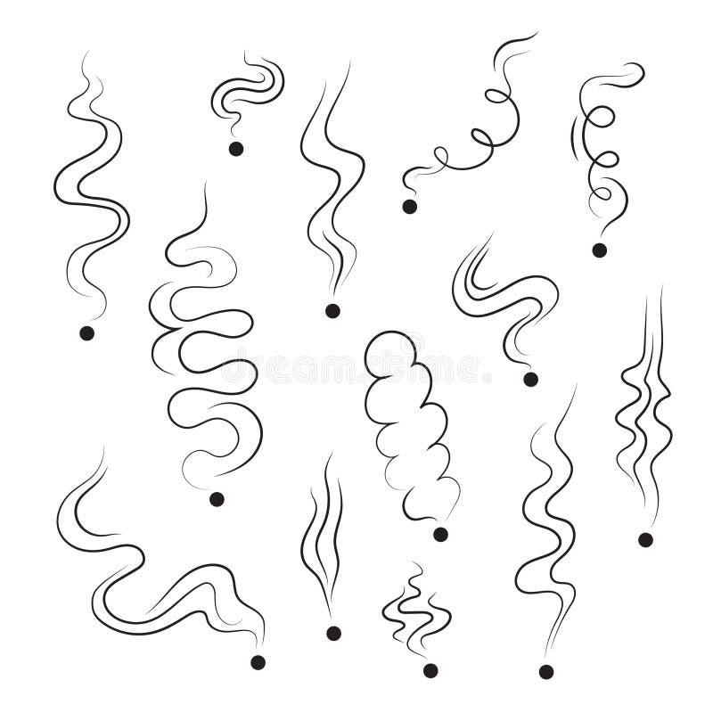 Καπνίζοντας εικονίδια γραμμών καπνών ελεύθερη απεικόνιση δικαιώματος