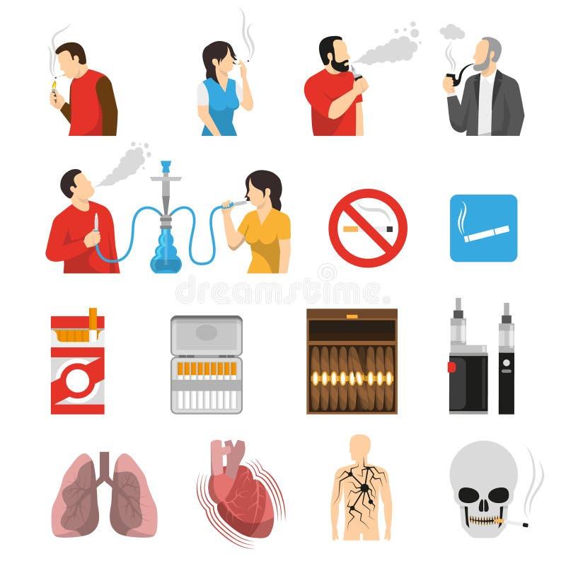 Καπνίζοντας εικονίδια κινδύνων προϊόντων καθορισμένα απεικόνιση αποθεμάτων