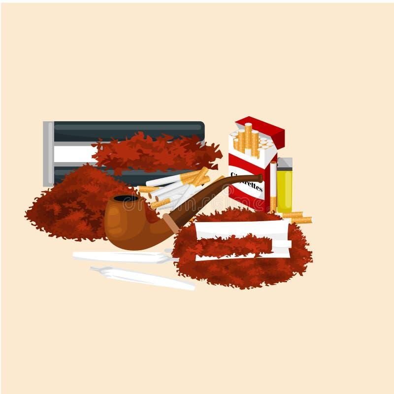 Καπνίζοντας ξύλινος σωλήνας με τον καπνό για την κυλημένη διανυσματική απεικόνιση εξοπλισμού τσιγάρων και πακέτων καπνίζοντας διανυσματική απεικόνιση