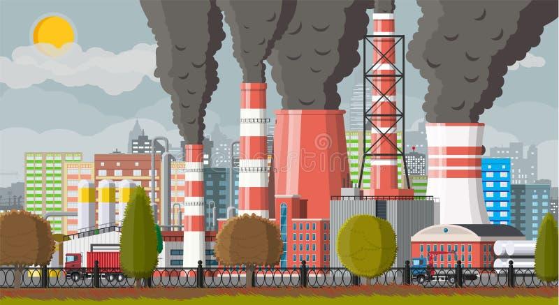 Καπνίζοντας σωλήνες εγκαταστάσεων Αιθαλομίχλη στην πόλη διανυσματική απεικόνιση