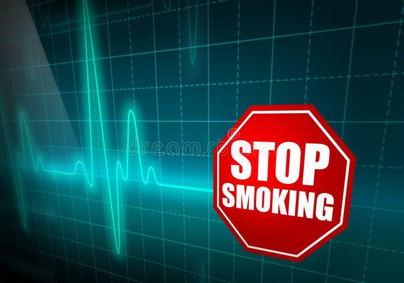 ΚΑΠΝΙΖΟΝΤΑΣ σημάδι ΣΤΑΣΕΩΝ στο τυρκουάζ όργανο ελέγχου ποσοστού καρδιών διανυσματική απεικόνιση