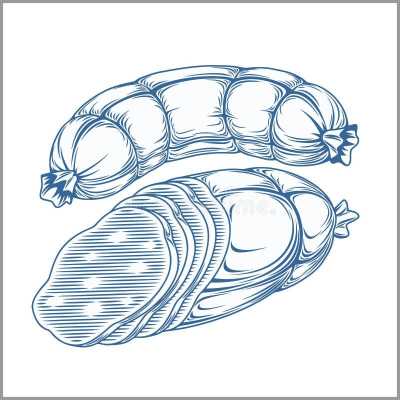 Καπνισμένα κρέατα, μπέϊκον που απομονώνεται στο άσπρο υπόβαθρο Σχέδιο χεριών στο εκλεκτής ποιότητας ύφος απεικόνιση αποθεμάτων