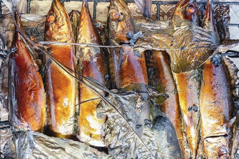 Καπνισμένο σύνολο σκουμπριών ψαριών με το κεφάλι του στο πλέγμα Καυτά καπνισμένα ψάρια στοκ εικόνες