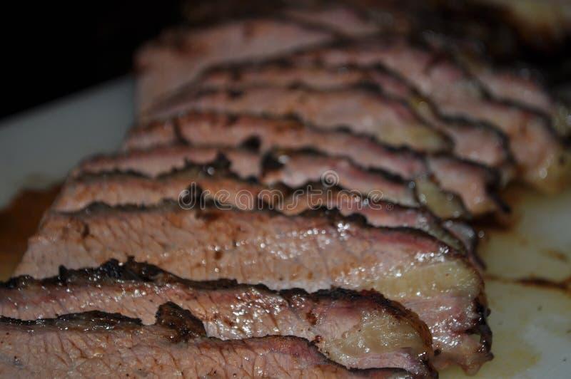 Καπνισμένο τεμαχισμένο στήθος κρέας βόειου κρέατος στοκ φωτογραφίες