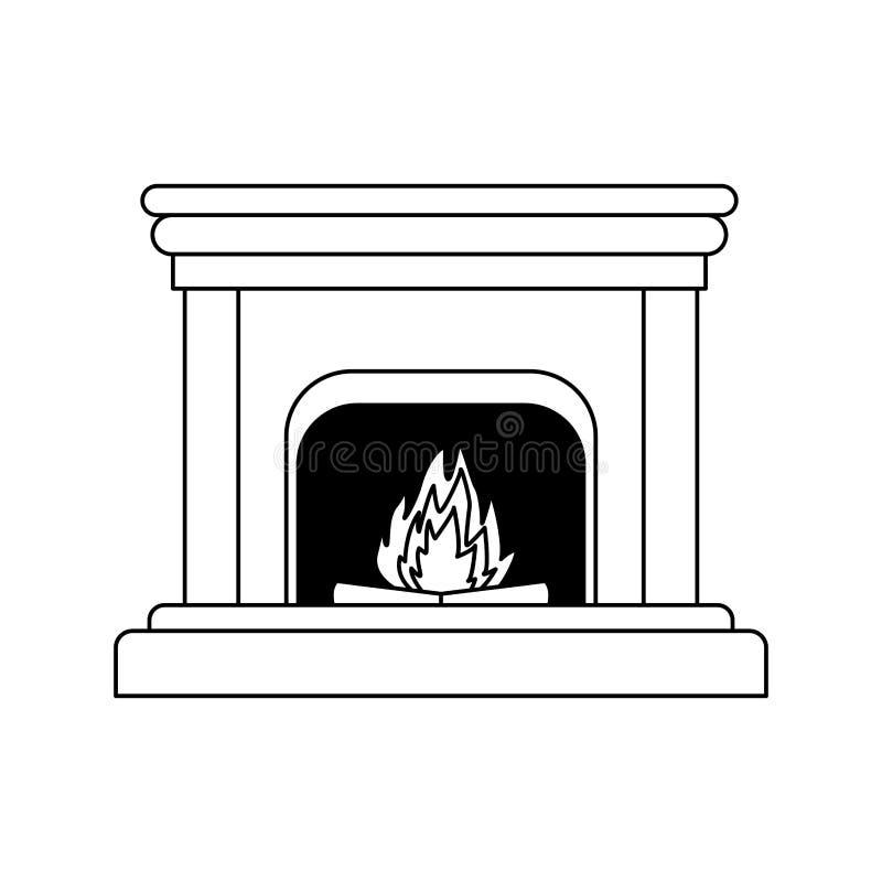 Καπνοδόχος με εικονίδιο πυρκαγιάς, επίπεδη σχεδίαση διανυσματική απεικόνιση