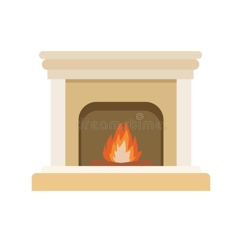 Καπνοδόχος με εικονίδιο πυρκαγιάς, επίπεδη σχεδίαση απεικόνιση αποθεμάτων