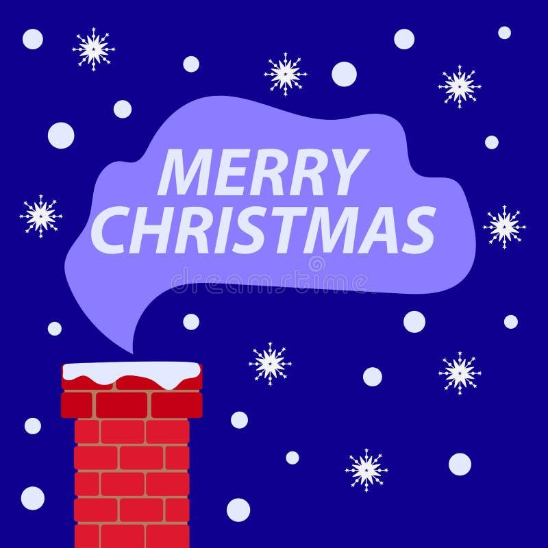 Καπνοδόχος στο χιόνι στη στέγη Απεικόνιση Χριστουγέννων ελεύθερη απεικόνιση δικαιώματος