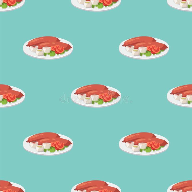 Καπνού ξηρά λουκάνικων άνευ ραφής σχεδίων πιάτων κρέατος γευμάτων διανυσματική απεικόνιση σχαρών μεσημεριανού γεύματος κουζίνας ε ελεύθερη απεικόνιση δικαιώματος