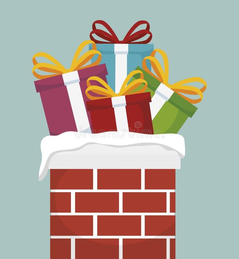 καπνοδόχος με απομονωμένο σχέδιο εικονιδίων Χριστουγέννων το δώρα απεικόνιση αποθεμάτων