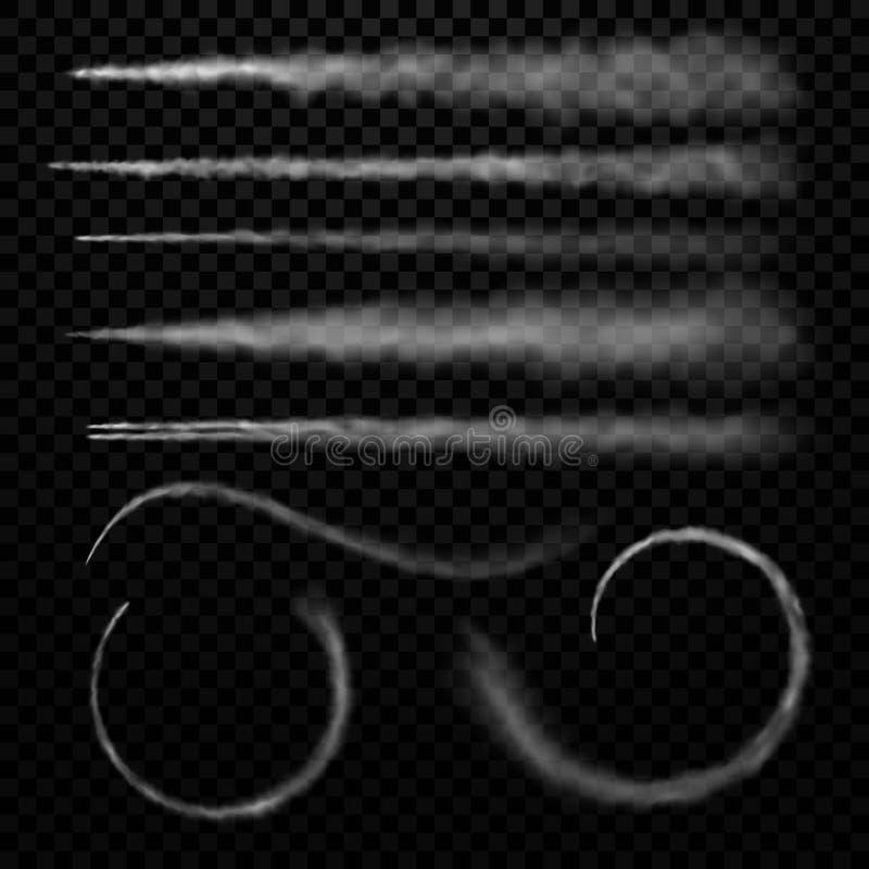 Καπνός αεροπλάνων Το ίχνος αεριωθούμενων αεροπλάνων μυγών, σύννεφο ταχύτητας αεροπλάνων σύρει και ο ατμός διαδρομής αεροπορίας κα απεικόνιση αποθεμάτων