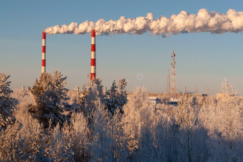 Καπνός από τους σωλήνες των εγκαταστάσεων θερμικής παραγωγής ενέργειας στο υπόβαθρο της καθαρής χειμερινής φύσης στοκ εικόνα με δικαίωμα ελεύθερης χρήσης