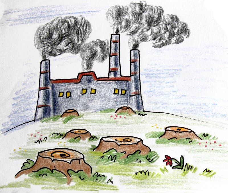 Καπνός εγκαταστάσεων διανυσματική απεικόνιση
