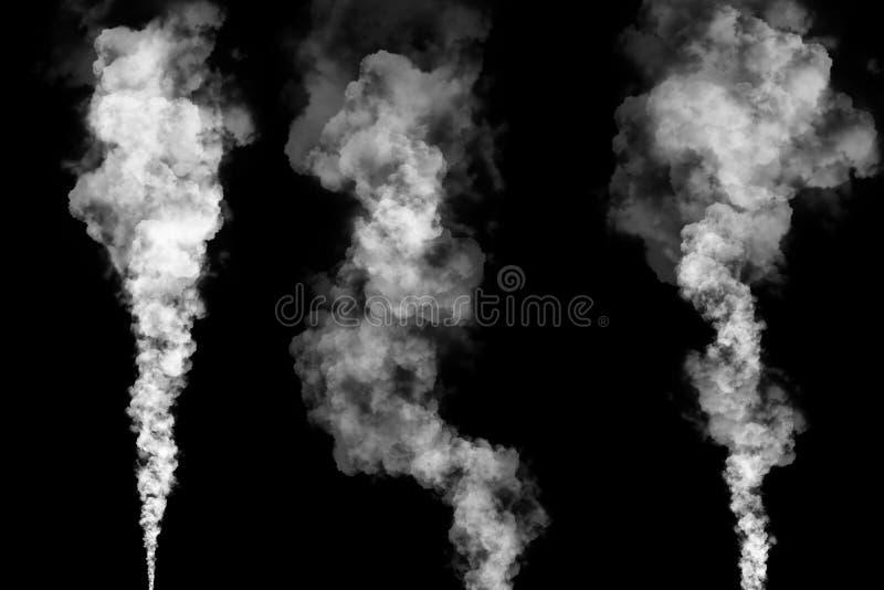 Καπνός, υδρονέφωση, σύννεφα ομίχλης που απομονώνονται στο μαύρο υπόβαθρο ελεύθερη απεικόνιση δικαιώματος