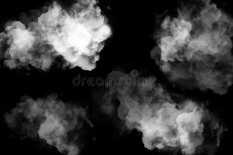 Καπνός, υδρονέφωση, σύννεφα ομίχλης που απομονώνονται στο μαύρο υπόβαθρο απεικόνιση αποθεμάτων