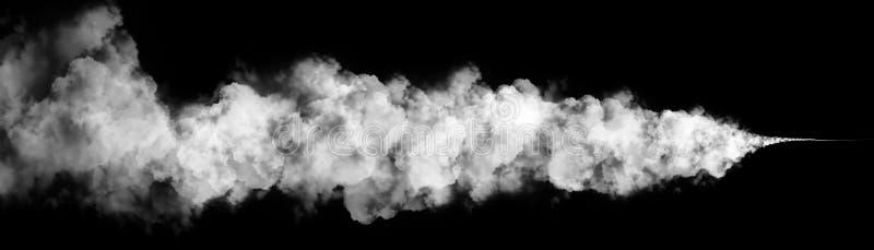 Καπνός, υδρονέφωση, σύννεφο ομίχλης που απομονώνεται στο μαύρο υπόβαθρο απεικόνιση αποθεμάτων