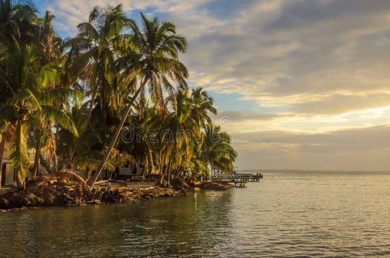 Καπνός Caye - μικρό τροπικό νησί στο σκόπελο εμποδίων με την παραλία παραδείσου, καραϊβική θάλασσα, Μπελίζ, Κεντρική Αμερική στοκ εικόνες με δικαίωμα ελεύθερης χρήσης