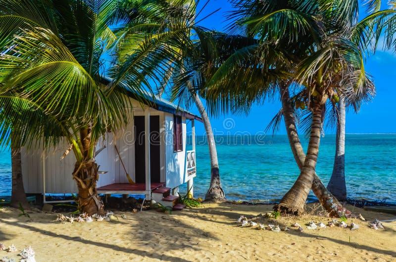 Καπνός Caye - που χαλαρώνει στην καμπίνα ή το μπανγκαλόου στο μικρό τροπικό νησί στο σκόπελο εμποδίων με την παραλία παραδείσου,  στοκ εικόνα με δικαίωμα ελεύθερης χρήσης