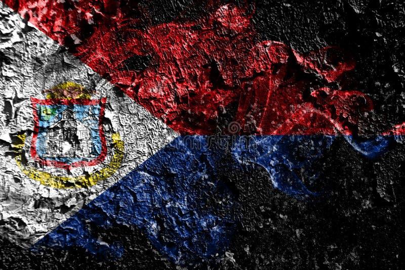 Καπνώδης μυστική σημαία των Κάτω Χωρών - Sint Maarten στο παλαιό βρώμικο υπό διανυσματική απεικόνιση