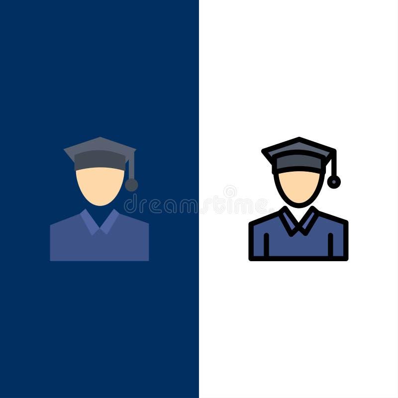 ΚΑΠ, εκπαίδευση, εικονίδια βαθμολόγησης Επίπεδος και γραμμή γέμισε το καθορισμένο διανυσματικό μπλε υπόβαθρο εικονιδίων ελεύθερη απεικόνιση δικαιώματος