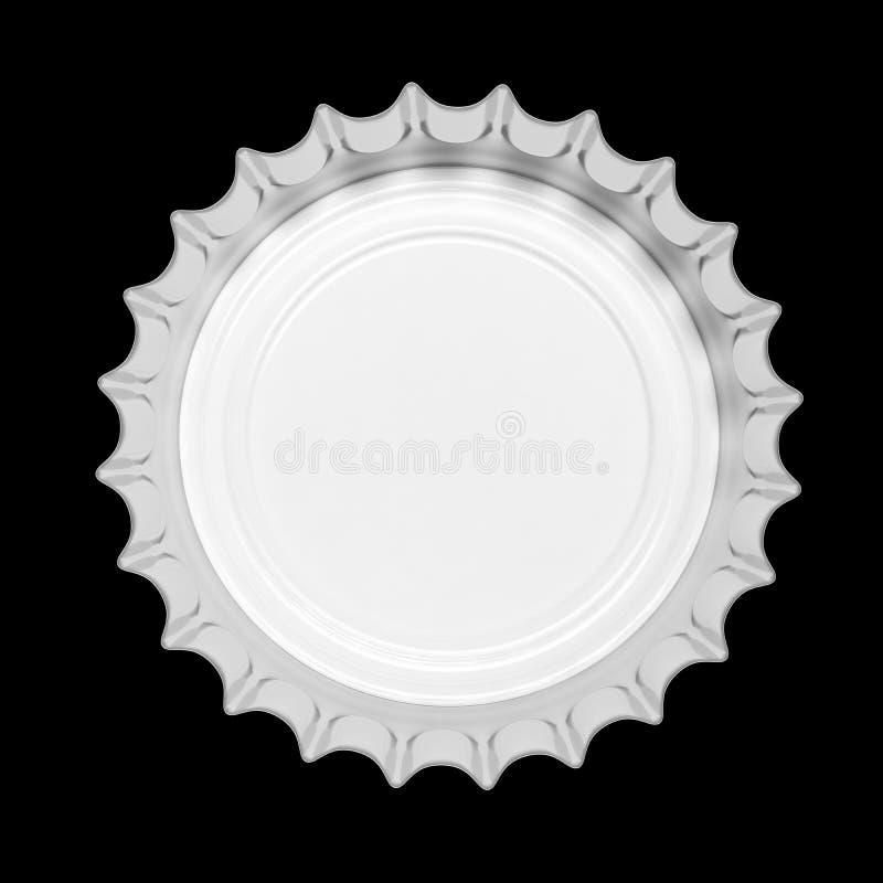 ΚΑΠ μπουκαλιών μπύρας γυαλιού που απομονώνεται στο μαύρο υπόβαθρο, τοπ άποψη τρισδιάστατη απεικόνιση ελεύθερη απεικόνιση δικαιώματος