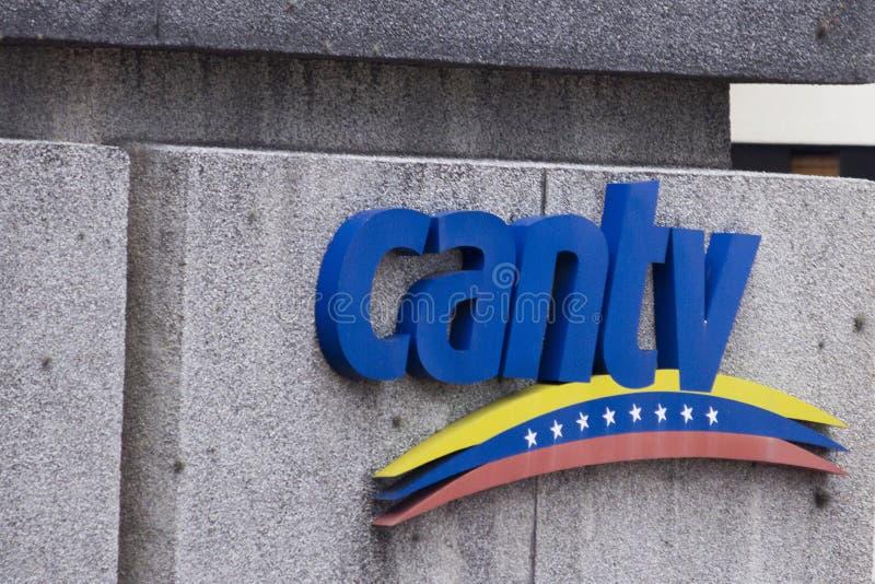 Καράκας, Βενεζουέλα, 26/05/2019 Λογότυπο CANTV της εθνικής τηλεφωνικής εταιρείας της Βενεζουέλας Της Βενεζουέλας COM κρατικών τηλ στοκ φωτογραφίες