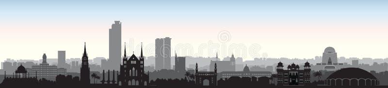 Καράτσι πόλεων του Πακιστάν Άποψη οριζόντων με τους διάσημους προορισμούς ελεύθερη απεικόνιση δικαιώματος