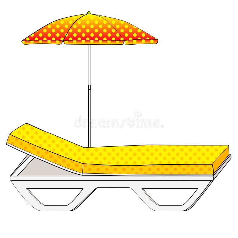 Καρέκλα γεφυρών κάτω από μια ομπρέλα στην αμμώδη παραλία Αντικείμενο σε μια άσπρη ανασκόπηση αναδρομικός τρύγος ύφου&sig Εννοιολο ελεύθερη απεικόνιση δικαιώματος