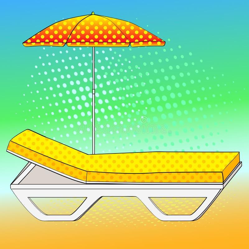 Καρέκλα γεφυρών κάτω από μια ομπρέλα στην αμμώδη παραλία Μίμηση ύφους κόμικς αναδρομικός τρύγος ύφου&sig Εννοιολογικό αντικείμενο ελεύθερη απεικόνιση δικαιώματος