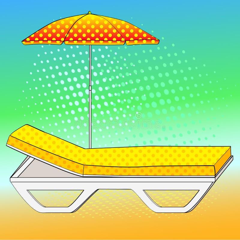 Καρέκλα γεφυρών κάτω από μια ομπρέλα στην αμμώδη παραλία Μίμηση ύφους κόμικς αναδρομικός τρύγος ύφου&sig Εννοιολογικό αντικείμενο διανυσματική απεικόνιση