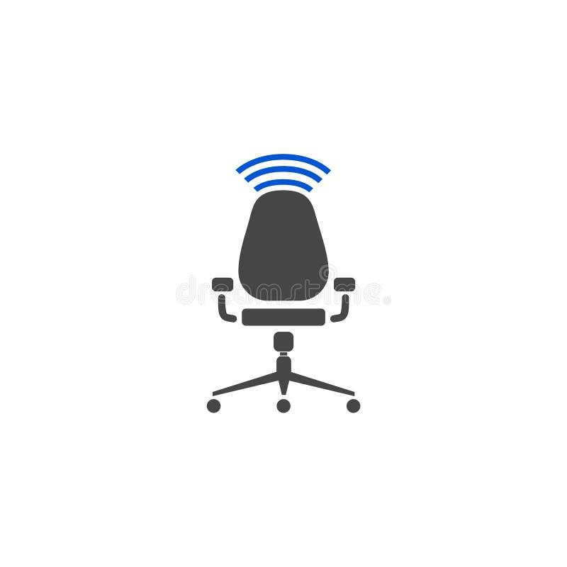 Καρέκλα γραφείων και σύμβολο wifi διανυσματική απεικόνιση