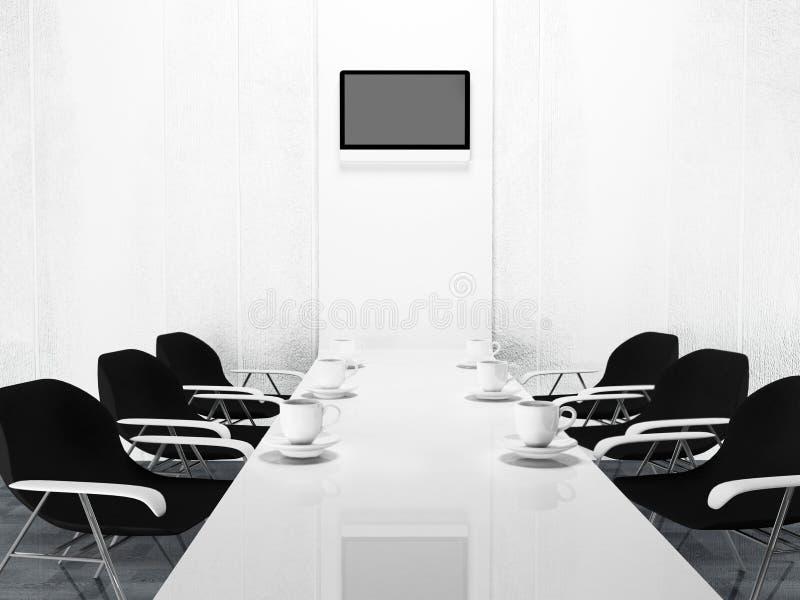 Καρέκλες γραφείων και ένας πίνακας, φλυτζάνια ελεύθερη απεικόνιση δικαιώματος