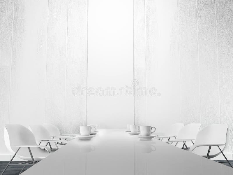 Καρέκλες γραφείων και ένας πίνακας, φλυτζάνια διανυσματική απεικόνιση