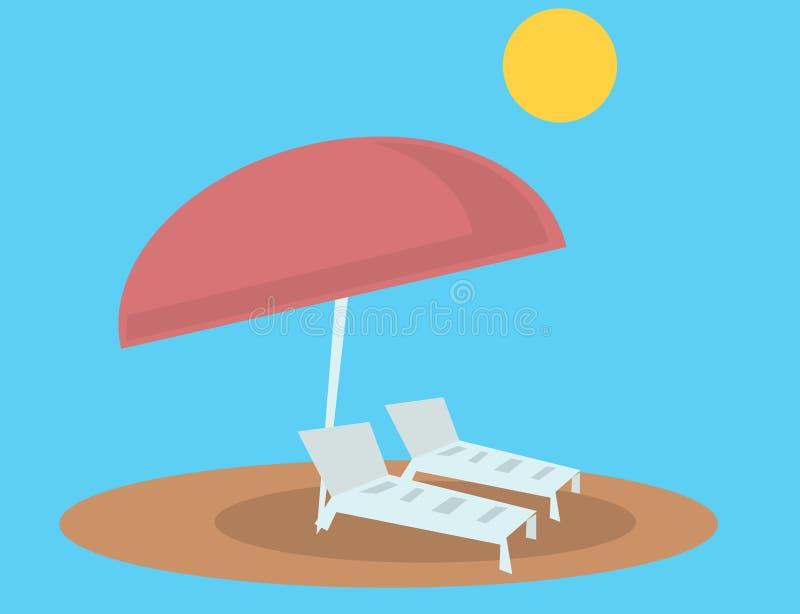 Καρέκλες και ομπρέλα σαλονιών παραλιών ελεύθερη απεικόνιση δικαιώματος