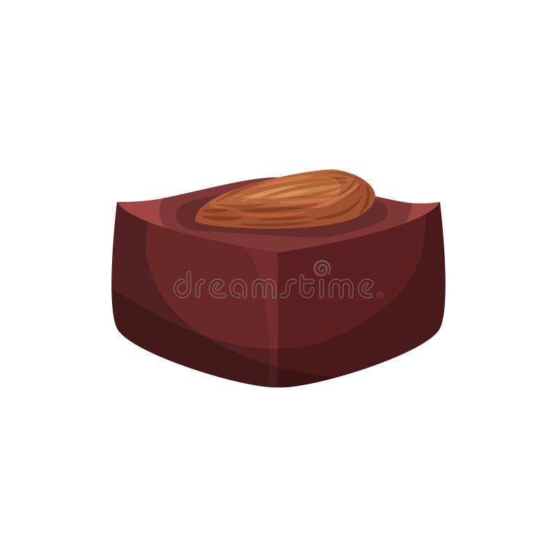 Καραμέλα από τα φασόλια κακάου με το καρύδι αμυγδάλων Εύγευστο επιδόρπιο σοκολάτας για το διάλειμμα Προϊόν βιομηχανιών ζαχαρωδών  διανυσματική απεικόνιση