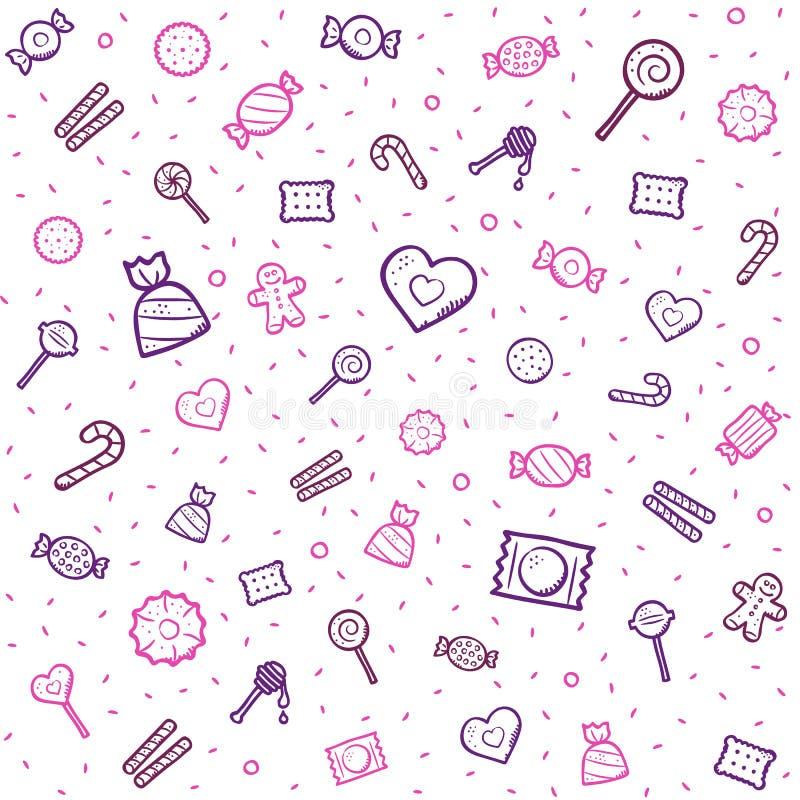 Καραμέλα και σχέδιο γλυκών με τα χρωματισμένα εικονίδια που απομονώνονται στο άσπρο υπόβαθρο ελεύθερη απεικόνιση δικαιώματος
