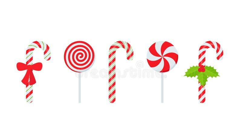 Καραμέλα καλάμων Χριστουγέννων r Ραβδί που απομονώνεται στο λευκό απεικόνιση αποθεμάτων