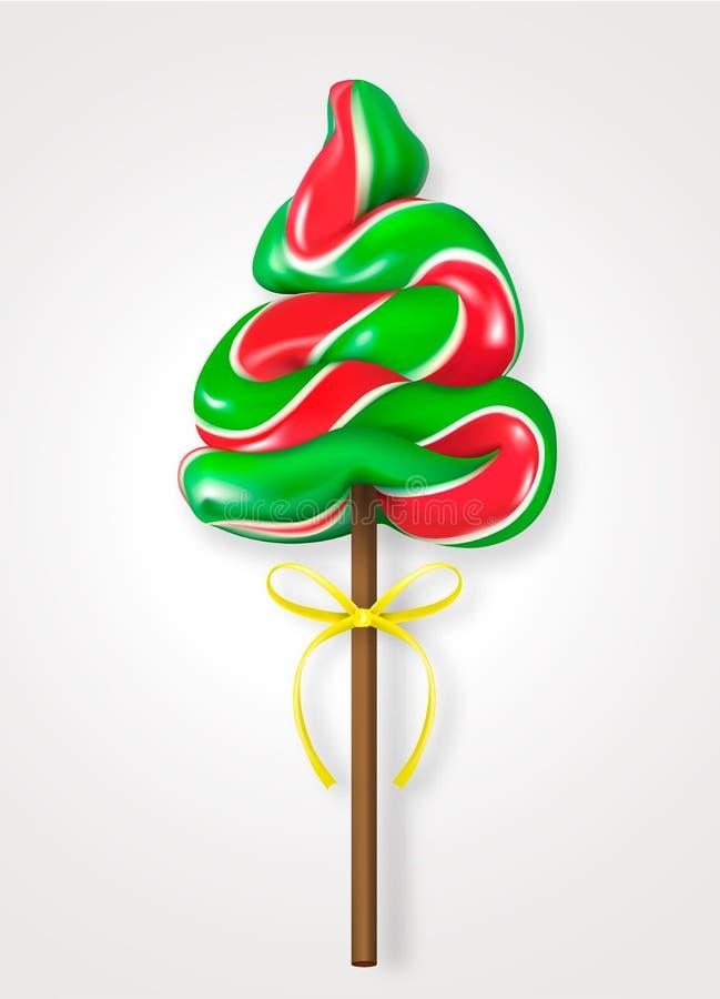 Καραμέλα lollipop με μορφή ενός χριστουγεννιάτικου δέντρου με την κίτρινη κορδέλλα Ρεαλιστική διανυσματική απεικόνιση στο άσπρο υ ελεύθερη απεικόνιση δικαιώματος